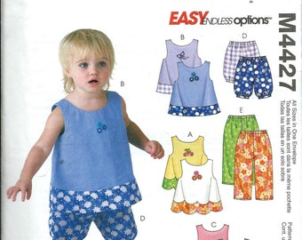 McCall's 4427 Easy Endless Options Pattern, Toddlers Tops, Dress, Shorts and Pants, 1-4 UNCUT