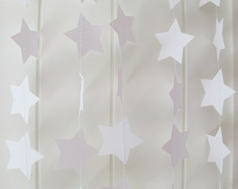 10 ft Long White Star Garland - Wedding Garland, Bridal Shower, Birthday Garland, Wedding Decoration