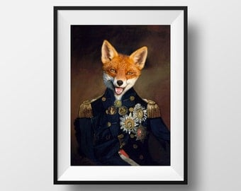 Colonel / Soldier / Sailor Fox Head Vintage Print. Birthday. Kitchen. Prints for the home.