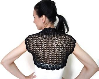 Crochet Shrug, Lace Wedding Bolero Jacket, Black Summer Dress Shrug, Prom Dress Bolero Jacket, Black Evening Bolero
