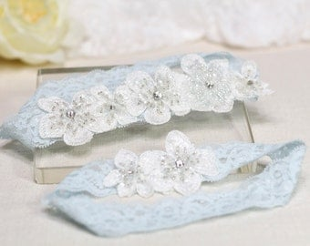 Blue Garter Set , Wedding Garter Set, Lace Garter Set , Wedding Garters, Bridal garters, Wedding Garter Belt