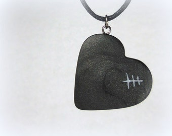 Mended Heart Necklace, Black Handmade Polymer Clay Jewelry Pendant