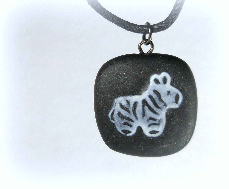 zebra necklace polymer clay jewelry by neiceysclaythings
