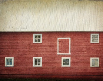 White Windows on a Red Barn, Fine Art Photography, Rustic Country Farmhouse Wall Decor | 'Broad Side Of A Barn'