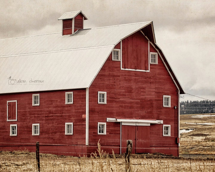 Red Barn Wall Decor : Rustic red barn photography farmhouse decor wall art