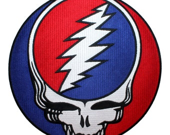 "XLG Grateful Dead 8"" Steal Your Face Album Logo Rock Band Iron On Applique Patch"