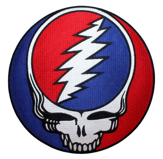 """XLG Grateful Dead 8"""" Steal Your Face Album Logo Rock Band Iron On Applique Patch"""