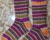 Hand Knit Womens Wool Socks - Handknit - Regia sock yarn (S-165)