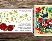 Tattoo Rose Wedding Invitation and Postcard RSVP // Rockabilly Wedding Victorian Inspired Inked Wedding Retro Invitation Red Chartreuse Rock