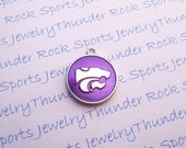 6 Kansas State Wildcats Charms Silver Plated University Logo Round Pendants