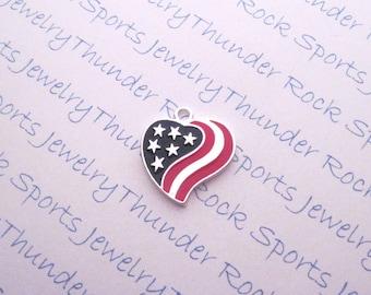 Antique Silver American Flag Heart Charm Patriotic Red White Blue Stars Stripes America Pendant