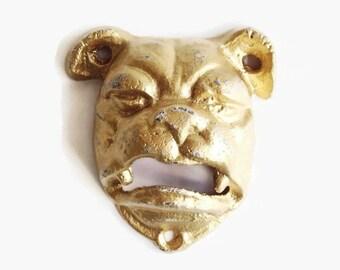 Bulldog Bottle Opener. Gold Dog. English Bulldog Decor. Marines Mascot. Homebrewer Tool Gift. Wall Mounted Cast Iron Beer Opener