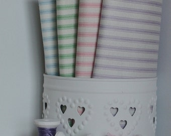 Ticking stripes / Pink Lilac/Purple Blue Green / Makower patchwork quilting fabric / fat quarter