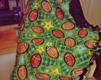 FOOTBALL PATTERN  2 layer REVERSIBLE fleece blanket