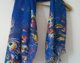 Scarf Peacock Pattern Scarf Scarves Cotton Shawl Women Scarf Accessories Wraps Scarves GiftsFor Her For Women Accessories