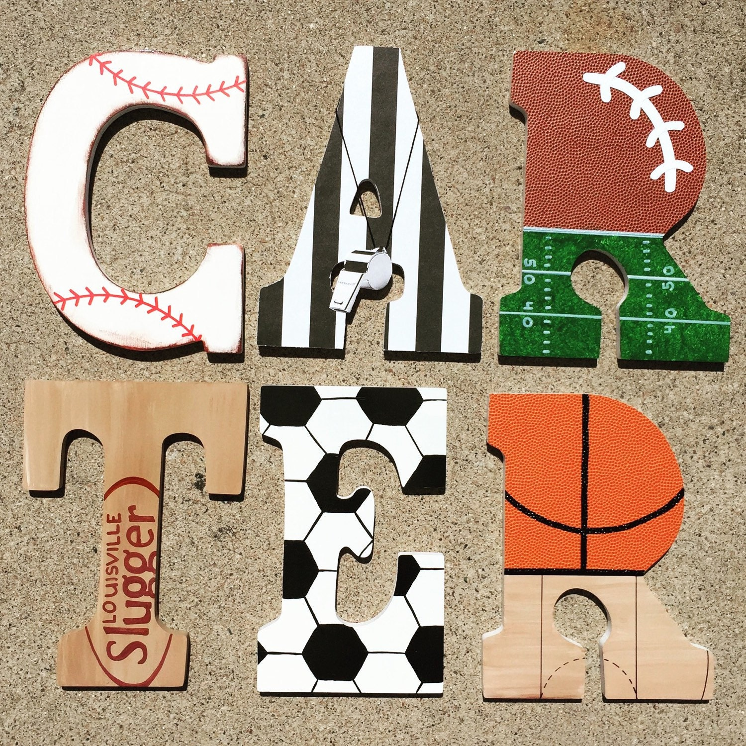 Baseball Themed Bedroom Wooden Sports Letters Wood Sport Initials Basketball