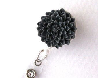 Grey Flower - ID Badge Holder - Flower Badge Reels - Designer ID Reel - Nurse Gifts - Pretty Name Badge Clips - BadgeBlooms
