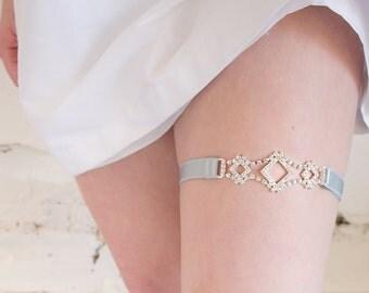 Charming Adjustable Garter + Headband, Bridal Garter Set, Something Blue, Wedding Garter, Rhinestone Garter