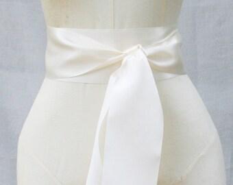Light Ivory Ribbon Sash - 3 inch width x 144 inches length (4 yards)-Wedding Sash, Bridal Sash, Plain Sash, Ivory Sash Belt