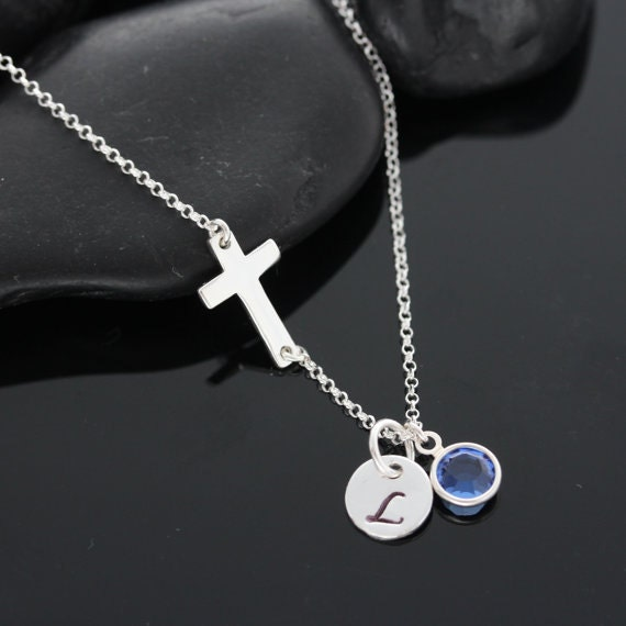 Sideways Cross Necklace - Sterling Silver Necklace - Taylor Jacobson Cross- Kelly Ripa - Personalized initial birthstone- Horizontal Cross