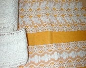 No. 100 Antique Vintage Edwardian White Cotton 3-Dimensional Insertion Lace; 2 Matching Widths;  Washed