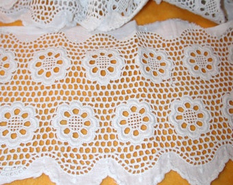 "No. 100 Antique Vintage White Cotton Broderie Anglaise Galloon Lace; 2 Pcs; 4"" x 26"" and 40"""