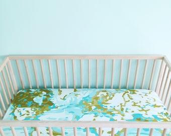 crib sheet aqua map fitted crib sheet baby bedding crib bedding minky