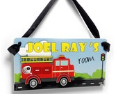 red firetruck kids door sign boys fireman station decor - custom plaque personalized with name - P357