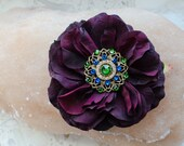 Hair flower pin, with Swarovski crystals.Tribal Fusion belly dance, dark maroon