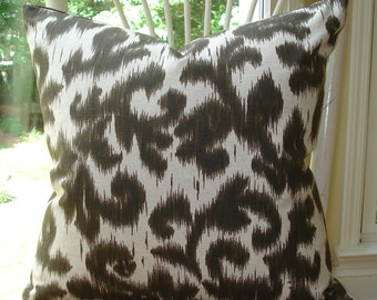 Brown ikat on linen pillow cover - 20 x 20