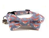 Cat Bow Tie Collar, FOXES in STEEL, Cat Collar BowTie, Handmade