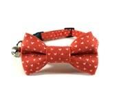 Cat Bow Tie Collar, LITTLE HEARTS, Cat Collar BowTie, Handmade