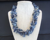Kyanite pebbles chips braided silver beads
