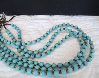 Turquoise Brass Triple Strand Tiny Dainty Exquisite Classic Fashion Gift Style under 50