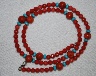 Necklace - Sponge Coral and Turquoise - 121001