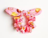 Bunny Bow Hair Scrunchies Donuts Dreams Pink pony tail Chou Chou kawaii hair bows accessory handmade with love by Love Factory New York