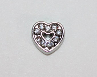 Rhinestone Heart Floating Charm