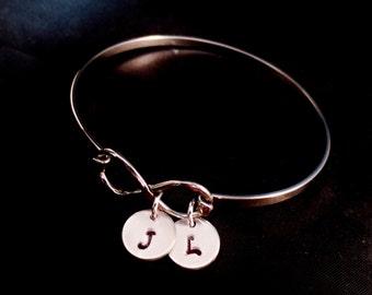 SALE Personalized Infinity Initial Bracelet, Silver Bangle Charm Bracelet, Initials, Anniversary Gift, Mommy Jewelry, Grandma Bracelet