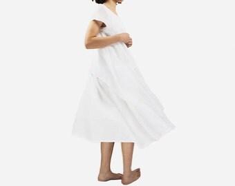 Woman Dress White Dress Sheer Dress Cotton Dress Spirit Dress Summer Dresses #D47