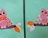 Set of Two Owls, Nursery Art, Canvas Art, Owls
