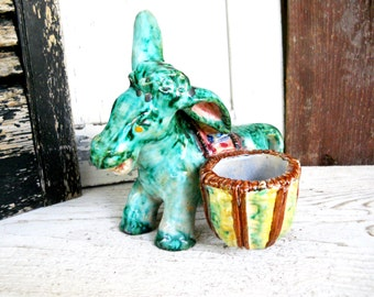 Vintage 1940s Perugia Spanish Italy Majolica Ceramic Donkey Art Pottery Condiment Match Holder Table Decor Cottage Farmhouse French Country