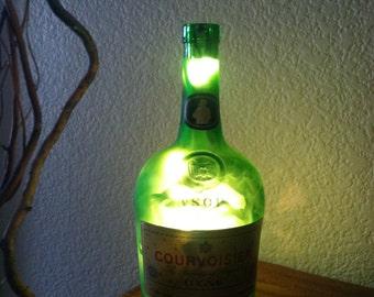 VSOP Courvoisier, VSOP Cognac Light, Green Vintage Bottle, Father's Day Gift, Courvoisier Light, 1960-1970 Bottle, Bar Light, Man Cave.
