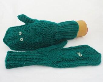 Owl Mittens, Cosy Owl Mittens, Hand Knit Women Owl Mittens, Owl Mittens in Emerald Green, Winter Owl Mittens
