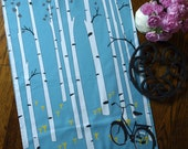 Chanterelle, Birch Tree and Bicycle Tea Towel in Blue, Black and Golden Yellow
