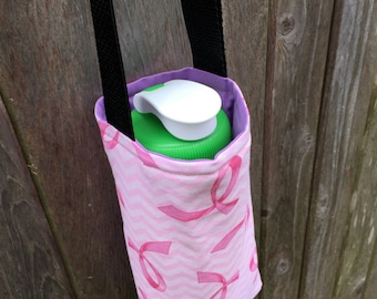 Water Bottle Carrier/Sling with Cross Body Strap - Pink Breast Cancer Ribbon Fabric, Insulated