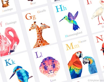 ABC cards, Alphabet art, Animal alphabet, Nursery alphabet, Baby nursery art, Geometric prints, Alphabet flash cards, Baby gift