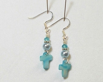 Cross Earring Blue Shell Cross With Pearl and Shimmer Crystal Dangle Earring