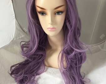 Lavender Lace Front Wig / Pastel light purple Long curly volume hair durable heat resistant safe sexy thick