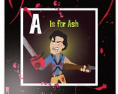 "Ash from Evil Dead - Original  blood spattered 12"" x 12""  canvas art from the HERO SQUARES ABCs of Badassery horror series"