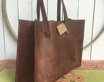 Distressed Brown  Leather Kodiak Oak Tote* Distressed Brown Leather Tote* Distressed Market Bag* Handmade in the USA